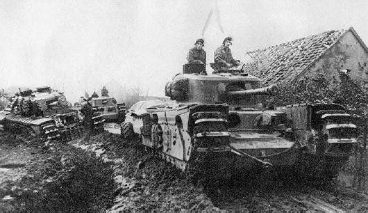 Photo d'archive d'un char churchill, même modèle qu'exposé à Lion-sur-Mer